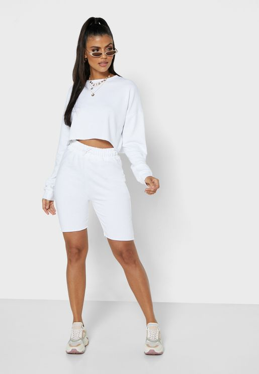 Cropped Sweatshirt & Shorts Set