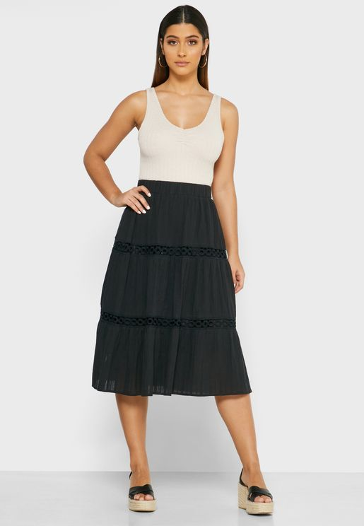 Embroidered Insert Tiered Midi Skirt