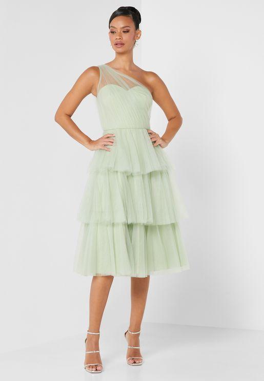 فستان شبكي بكتف واحد