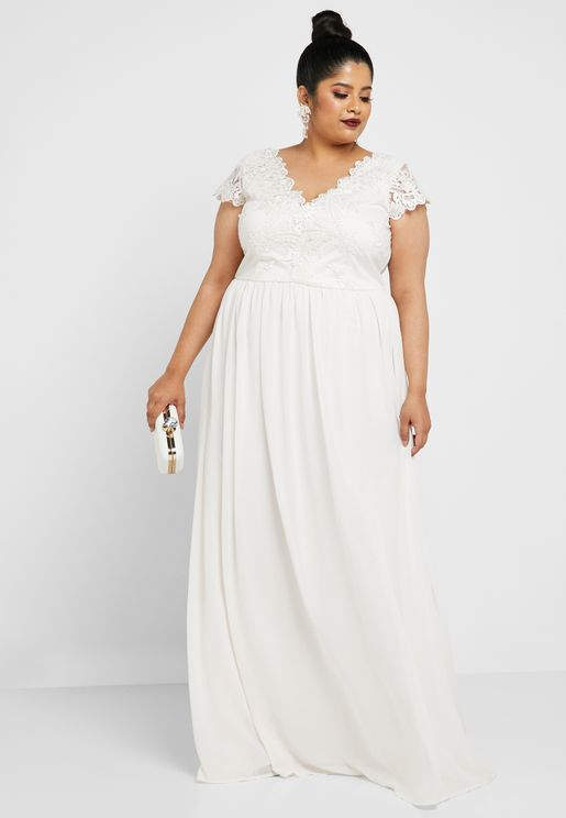 Lace Scallop Detail Maxi Dress