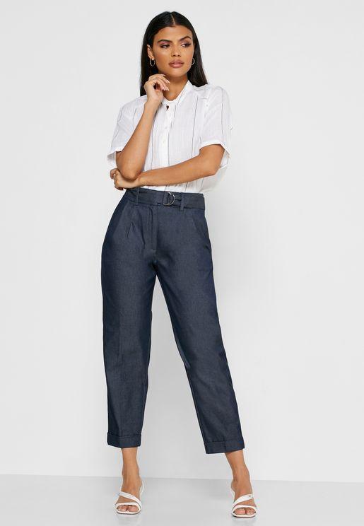 بنطال جينز كلاسيكي بحزام