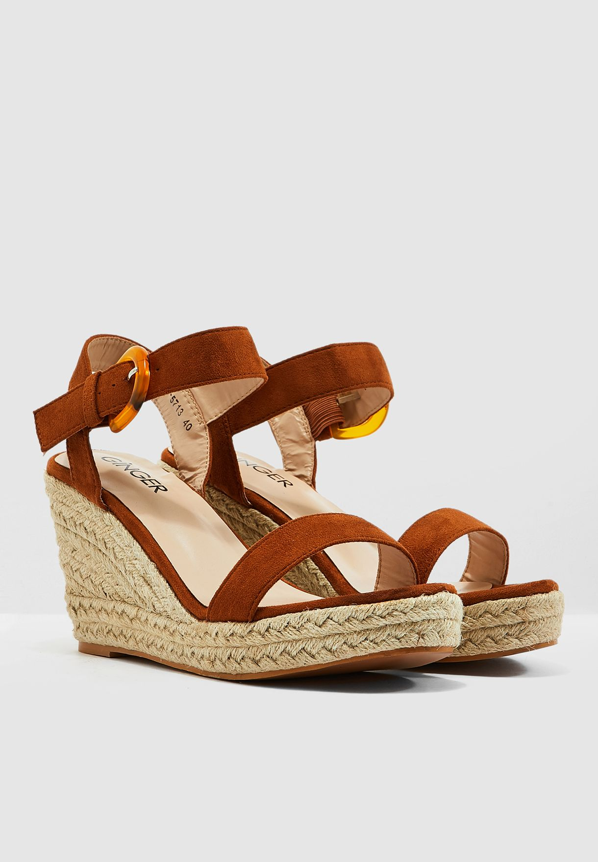 Wedge Sandals With Buckle Detail