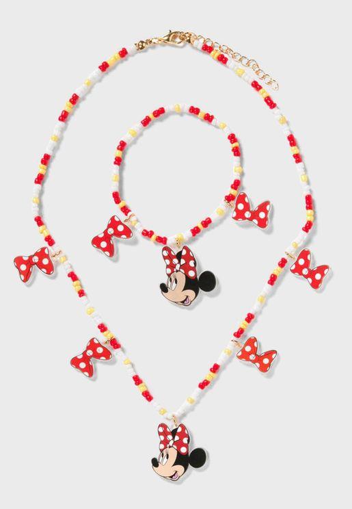 Kids Minnie Mouse Necklace + Bracelet Set