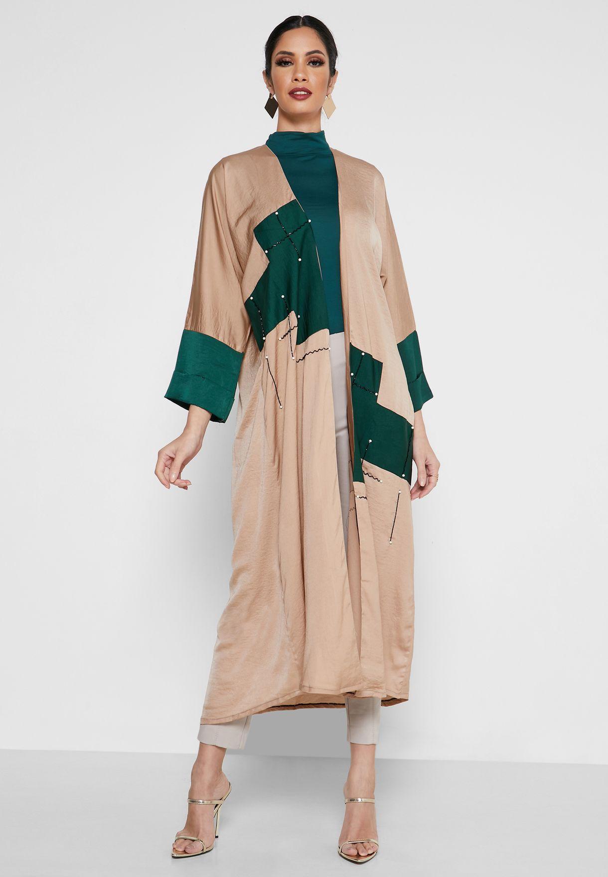 Embellished Colourblock Abaya