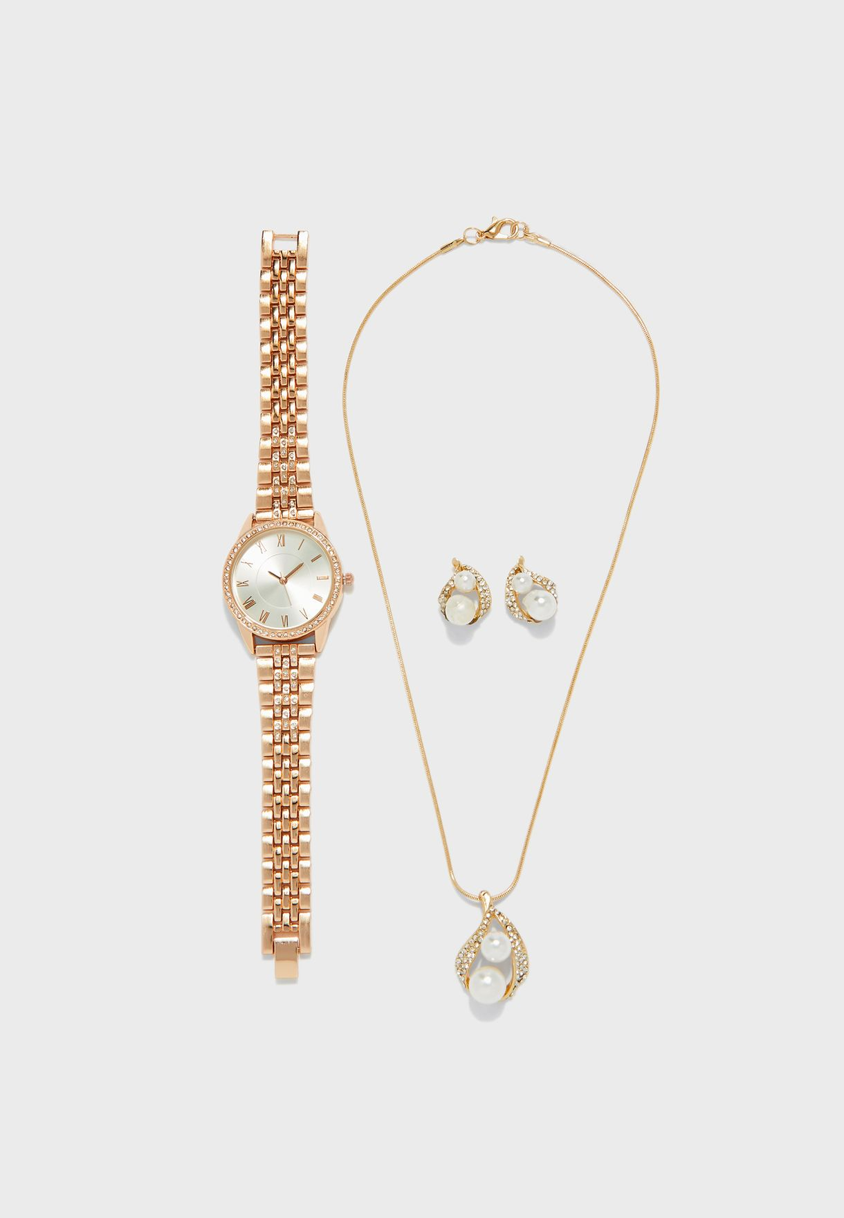 Two Tone Watch And 2 Piece Jewelry Set