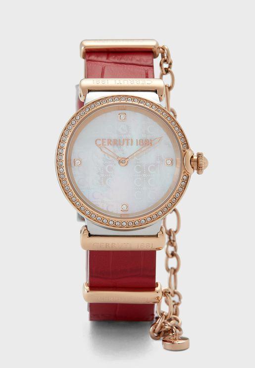Corniglia Leather Strap Analog Watch