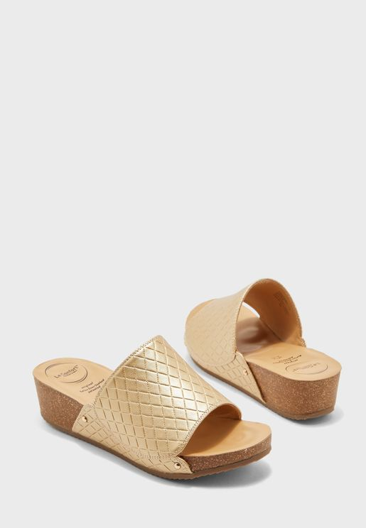 Wide strap wedge sandal