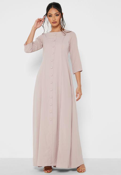 Full Sleeves Button Detail Maxi Dress
