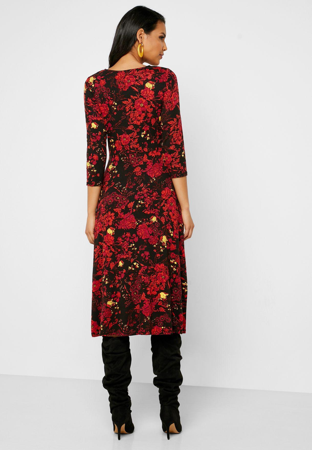 Side Slit Printed Dress