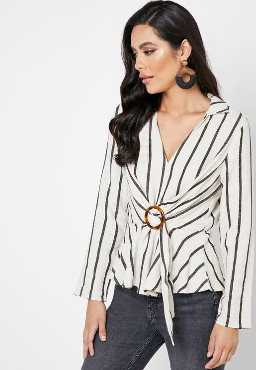 Striped Belted Wrap Top