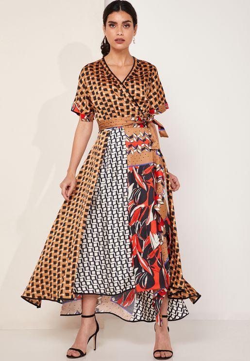 Asymmetric Printed Wrap Maxi Dress
