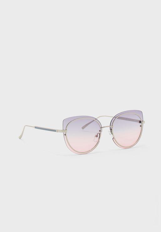 Ombre Lens Metal Frame Catseye Sunglasses