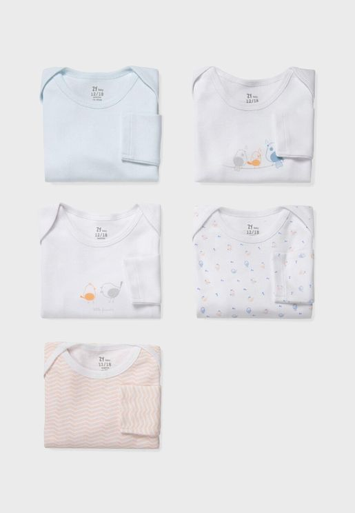 Infant  5 Pack Printed Bodysuit