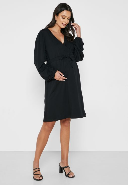 Balloon Sleeve Wrap Dress
