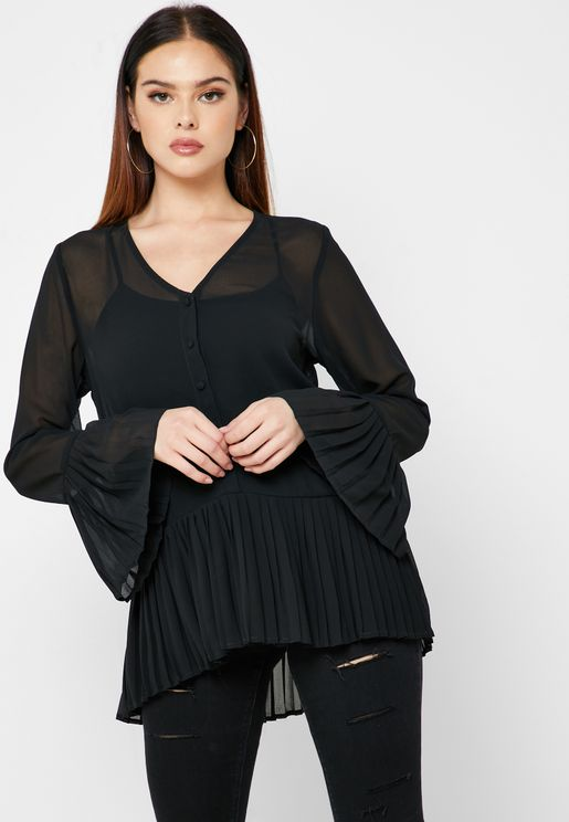 Sheer Pleated Shirt