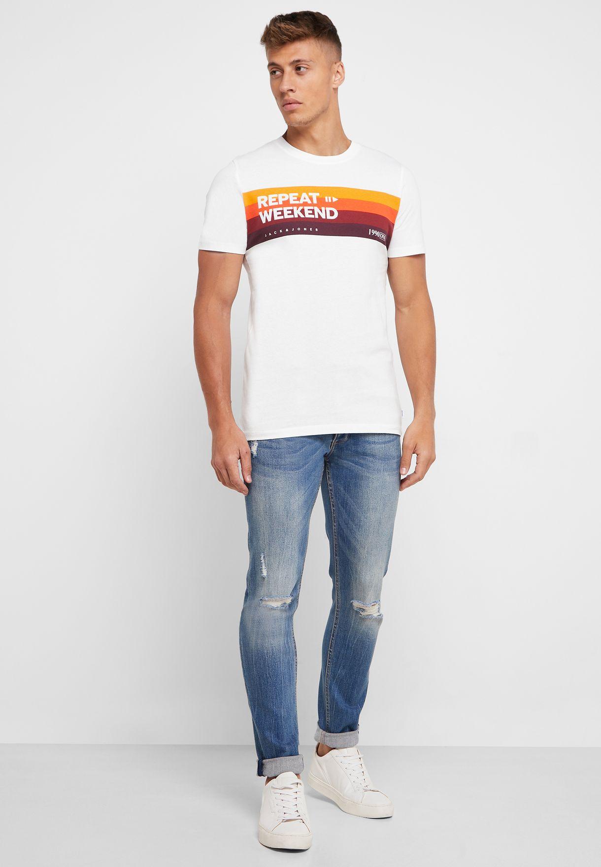 Repeat Weekend Slim Fit Crew Neck T-Shirt