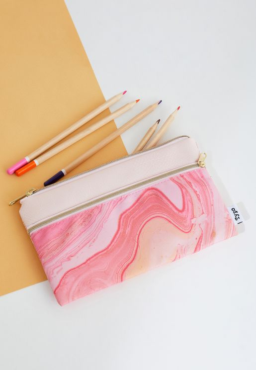 Pink Marble Pencil Case