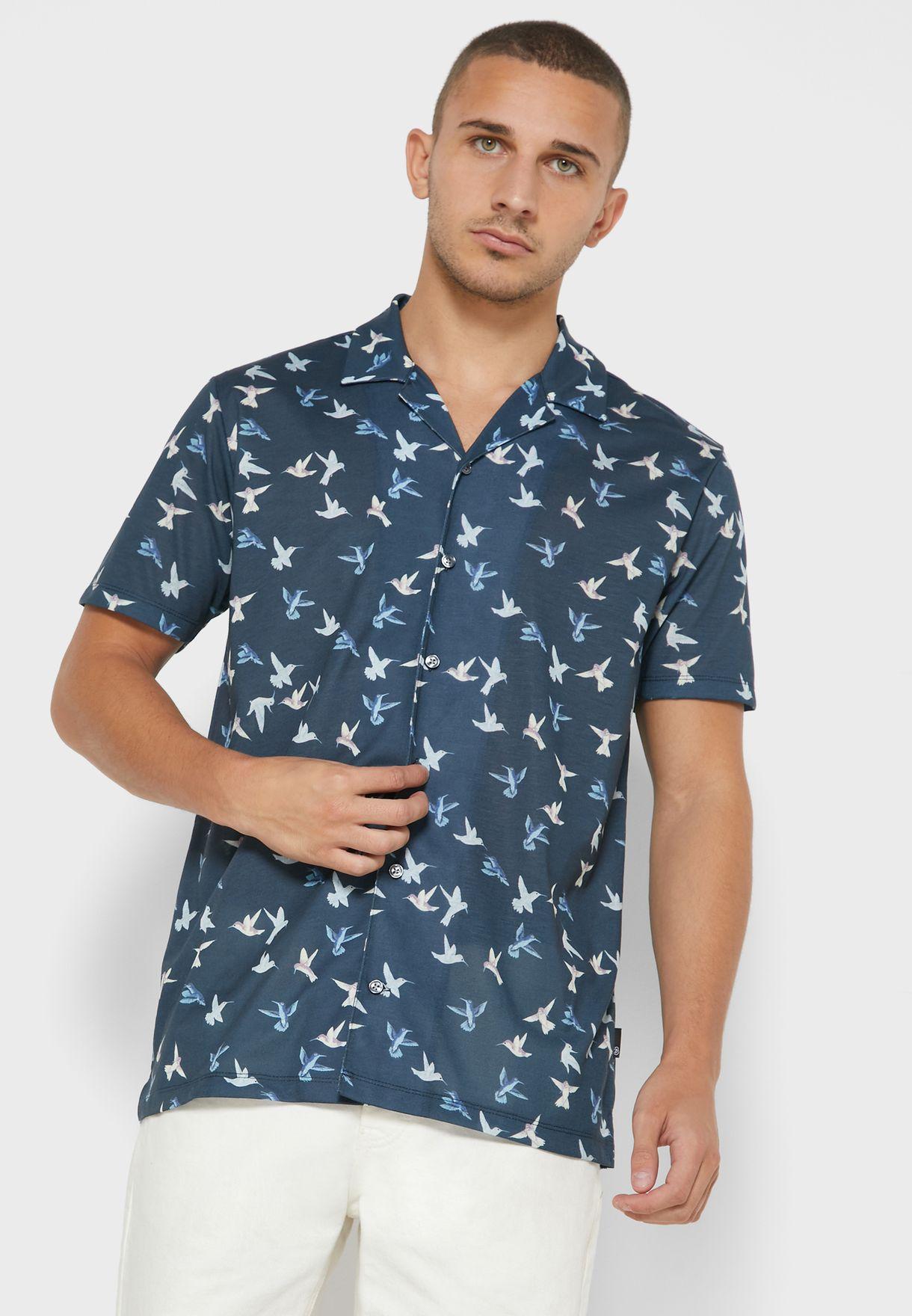 Bird Print Slim Fit Shirt