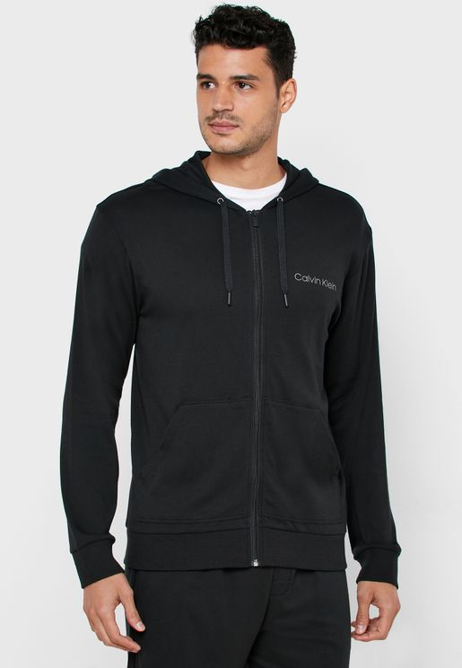 Chest Logo Zip Up Hoodie