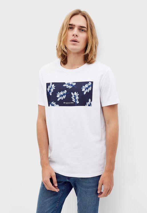 Leaf Print Panel Crew Neck T-Shirt