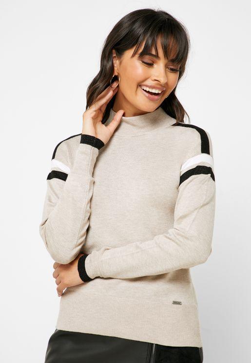 Stripe Detail High Neck Sweatshirt