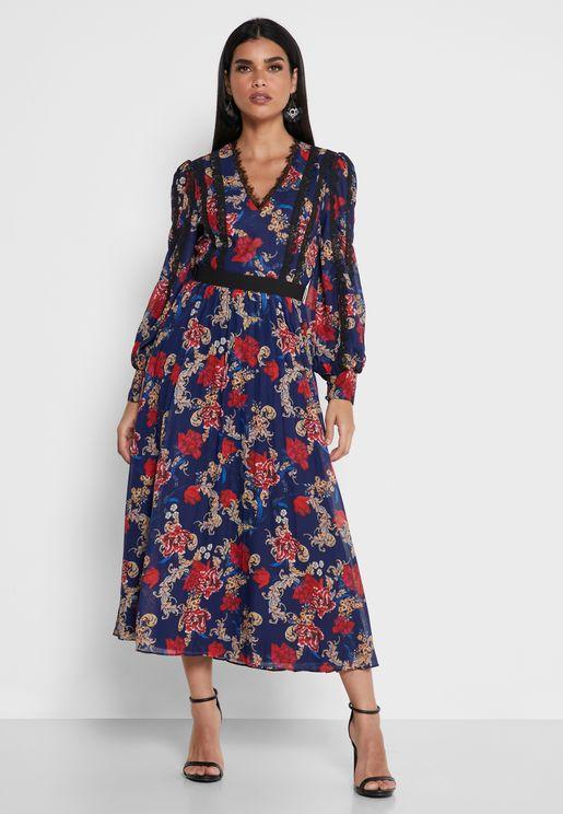 Floral Print Puff Sleeve Dress