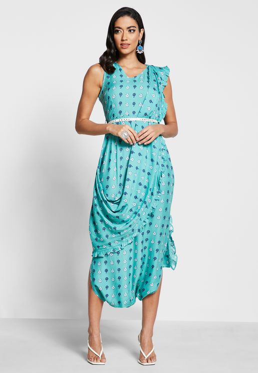 Teal Floral Boota Jumpsuit with Attached Dupatta
