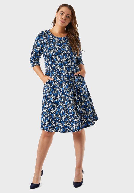 Ditsy Print Fit & Flare Dress