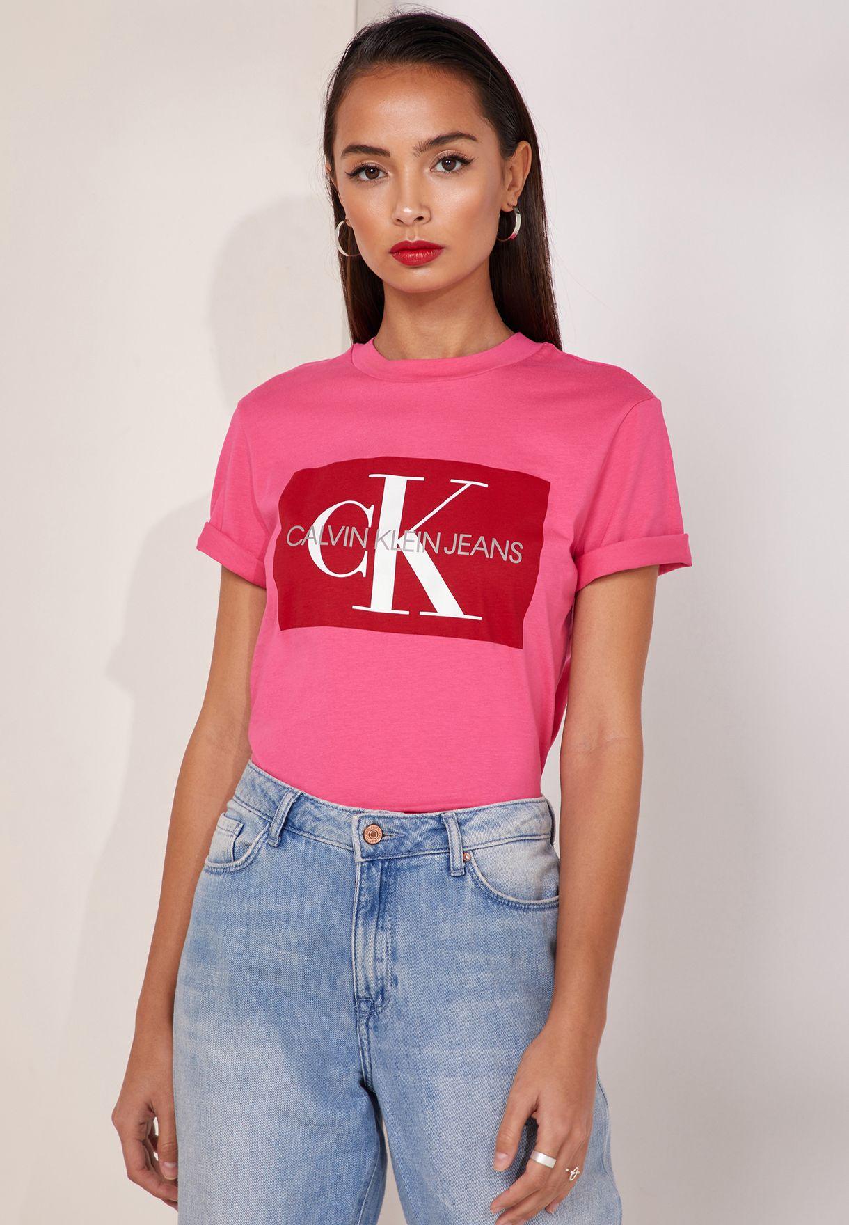 43cf5a58558 Shop Calvin Klein Jeans pink Iconic Monogram Box Logo T-Shirt ...