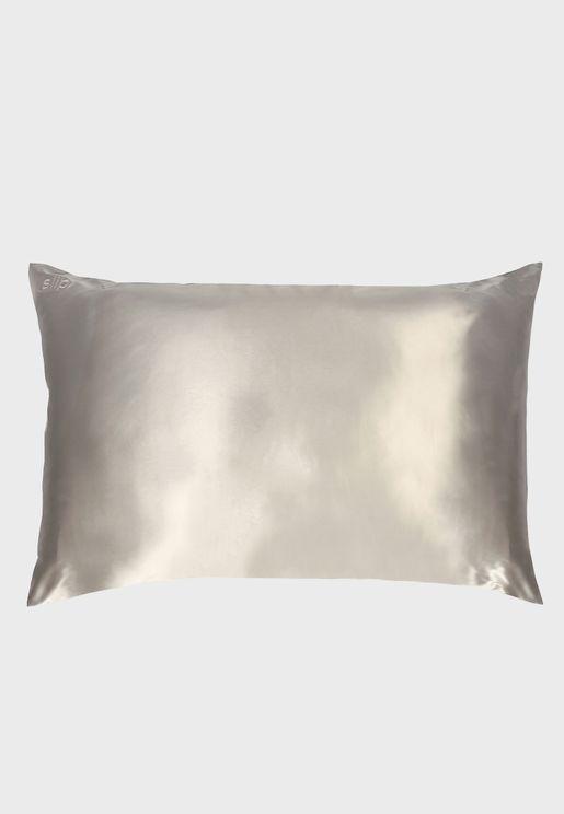Queen Size Silk Pillow Case - Silver
