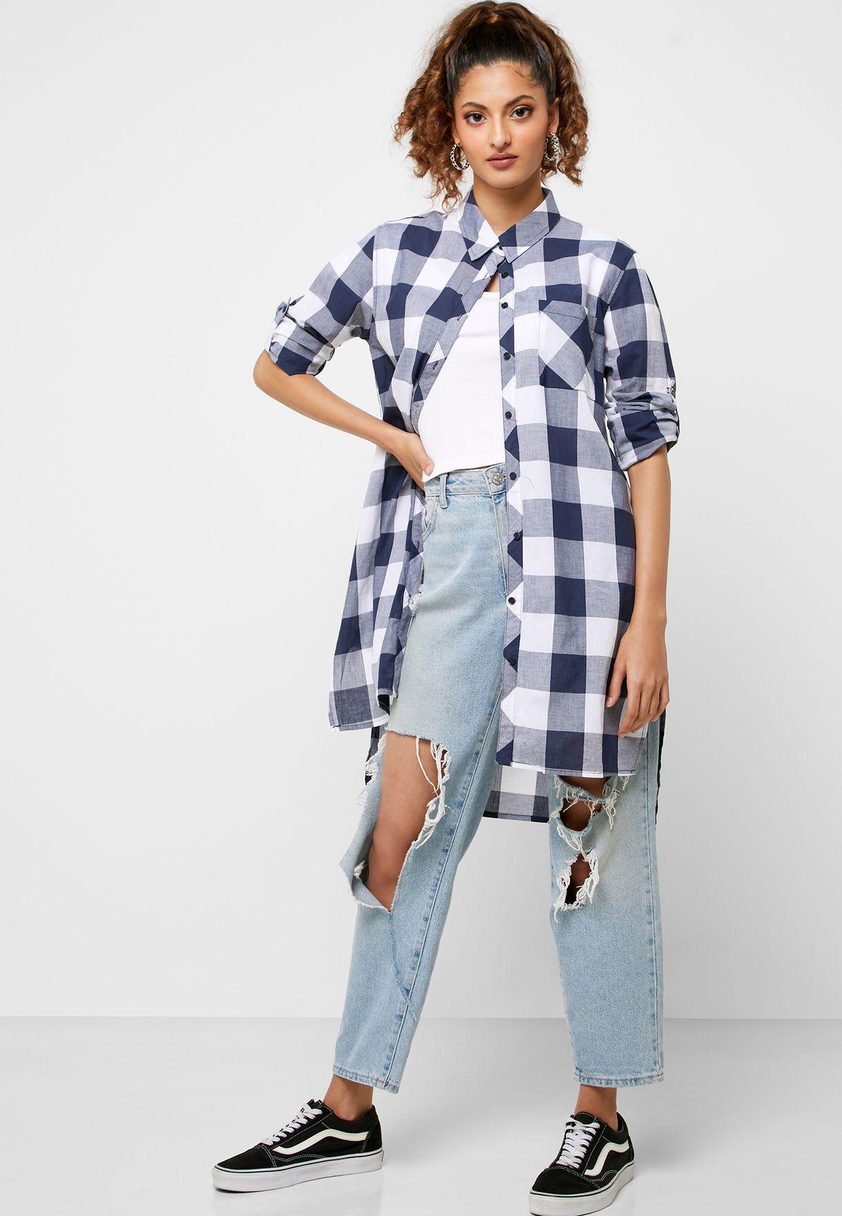 قميص طويل بطبعات مربعات