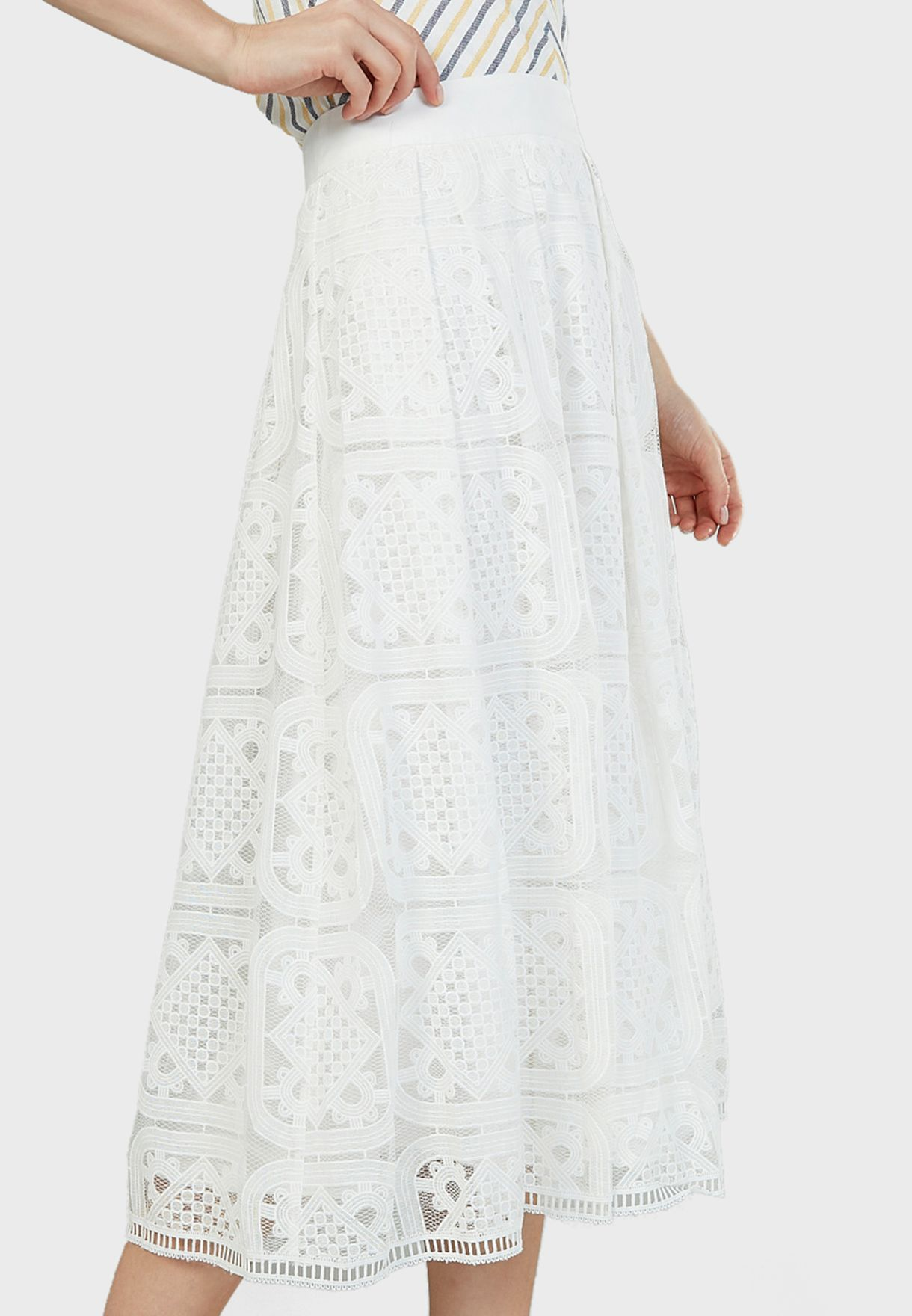 Lace Detail Midi Skirt
