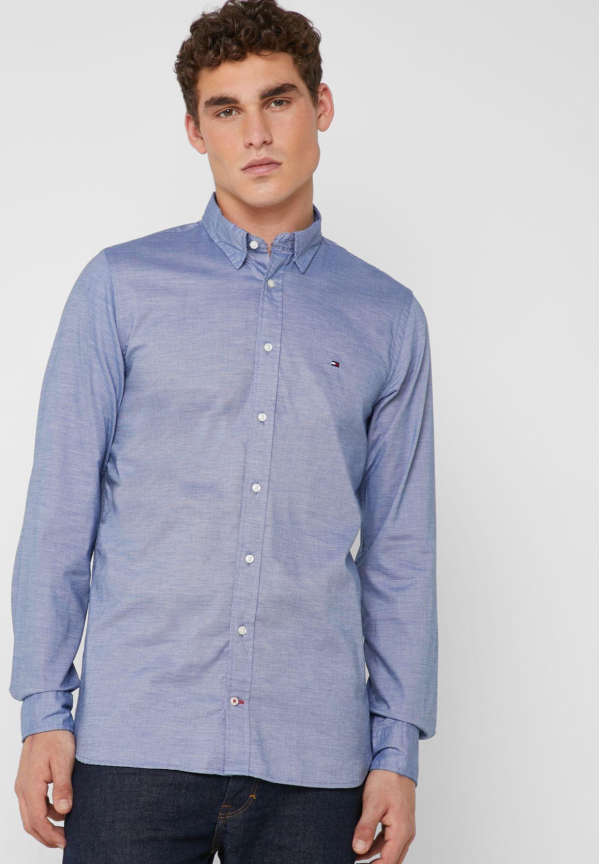 2e25f0bca Shop Tommy Hilfiger blue Essential Dobby Shirt MW0MW09877 for Men in ...
