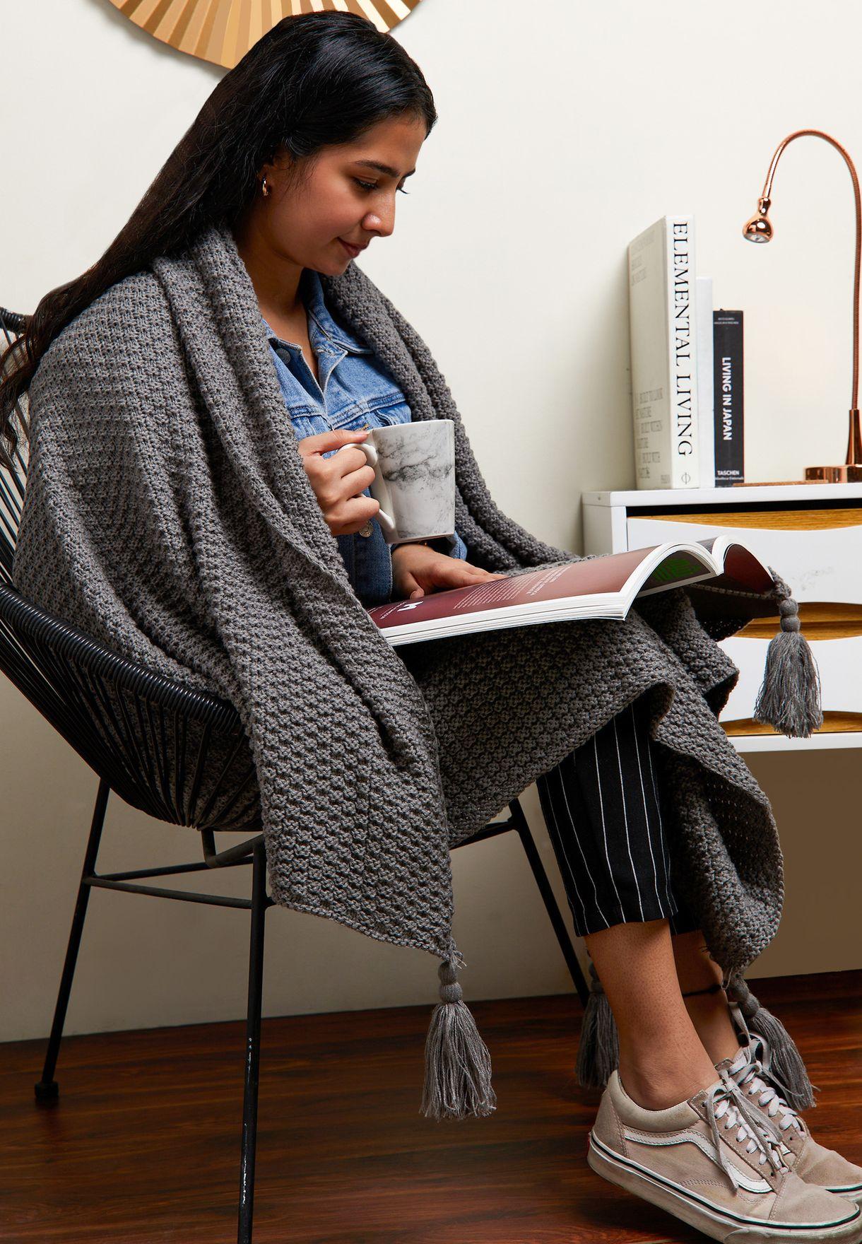 Grey Knitted Blanket 130cm x 170cm
