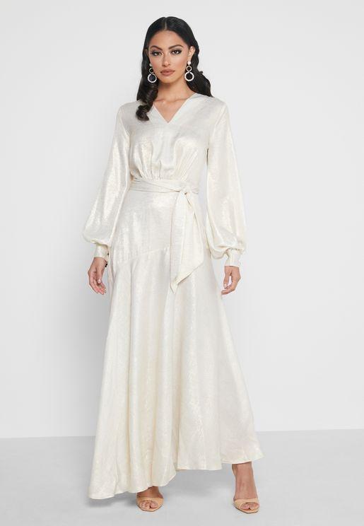 Smock Detail Shimmer Dress