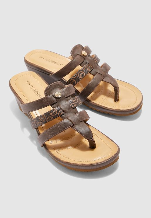 Multi Strap Flat Sandal - Brown