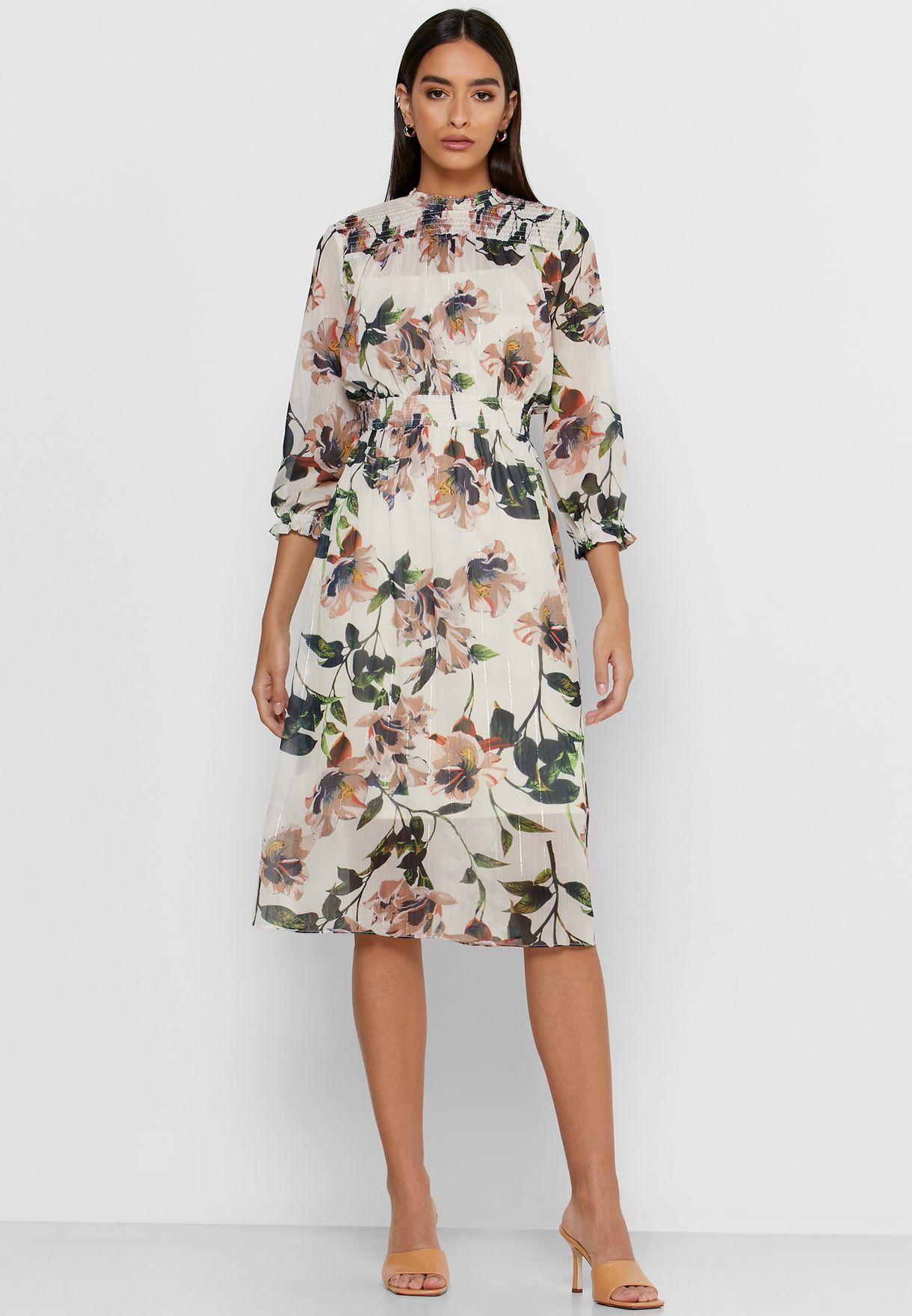 فستان ميدي بطباعة زهور