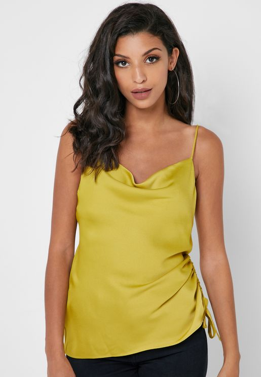 Ruched Detail Satin Cami Top