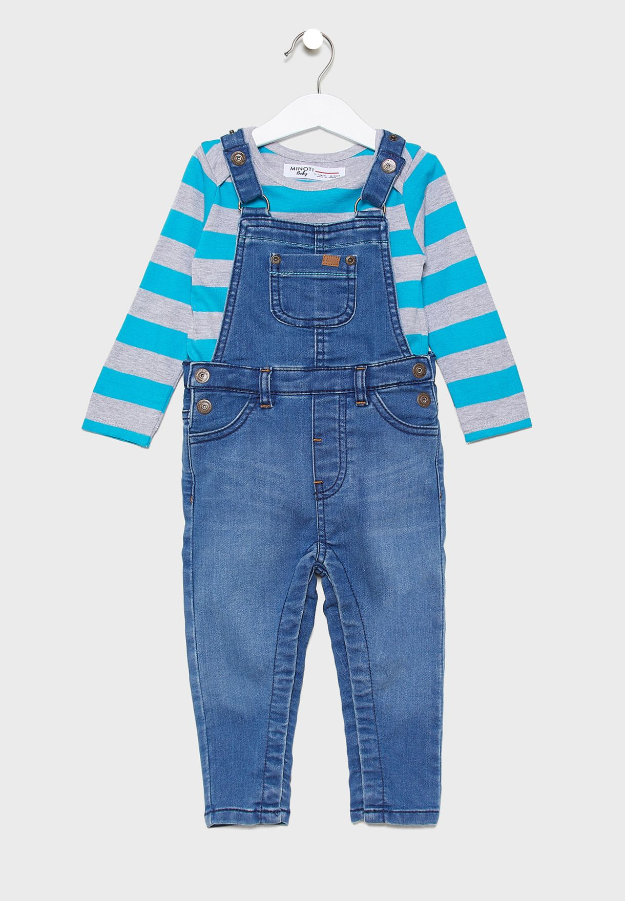 Infant Striped T-Shirt+Denim Dungaree Set