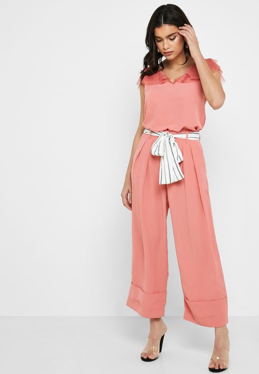 Wide Leg Striped Belt Pants
