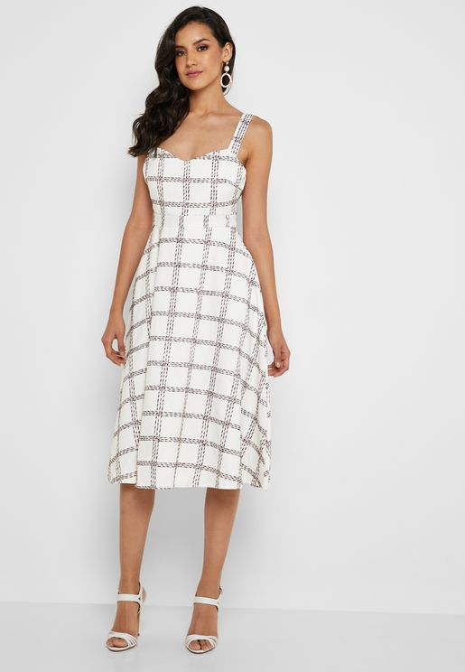 Checked Heart Neck Dress