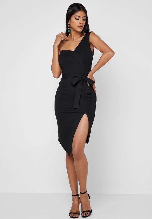 2a27d15b01f Asymmetric Side Split One Shoulder Dress
