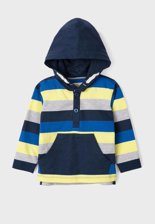 Infant Striped Placket Hoodie