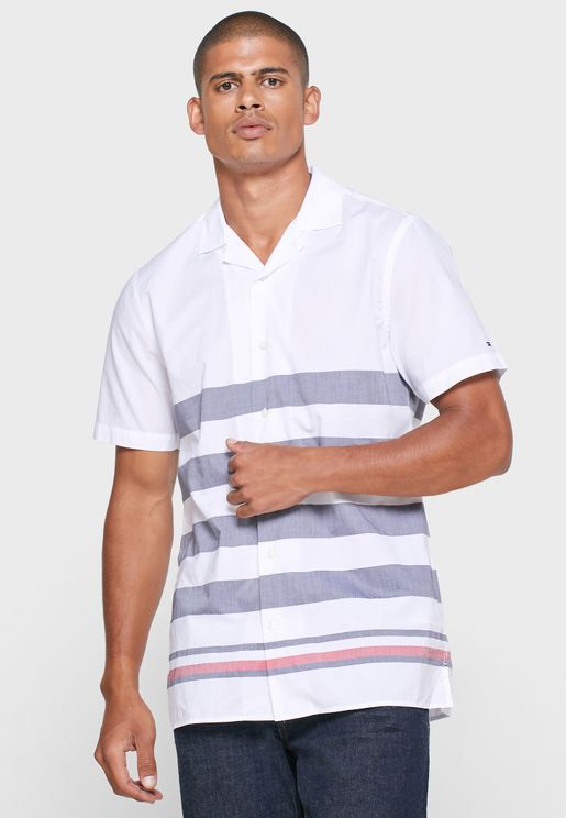 Brenton Striped Panel Slim Fit Shirt