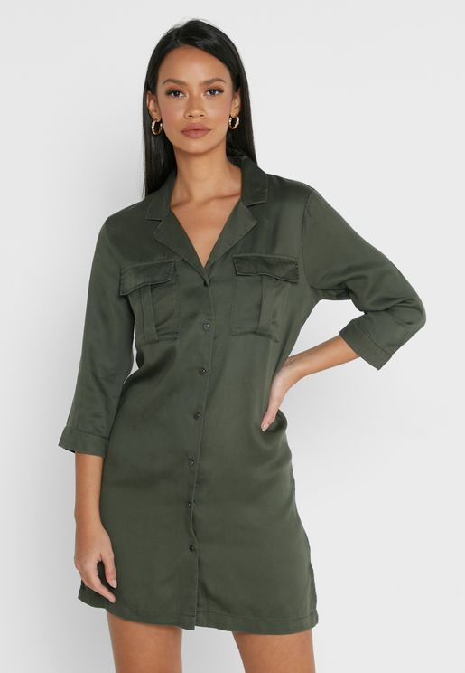 Pocket Detail Shirt Dress