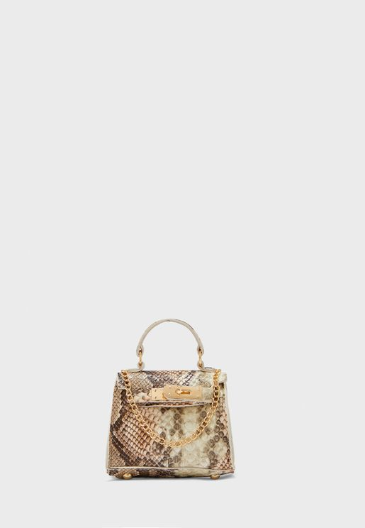 Mini Satchel Bag In Snake Print