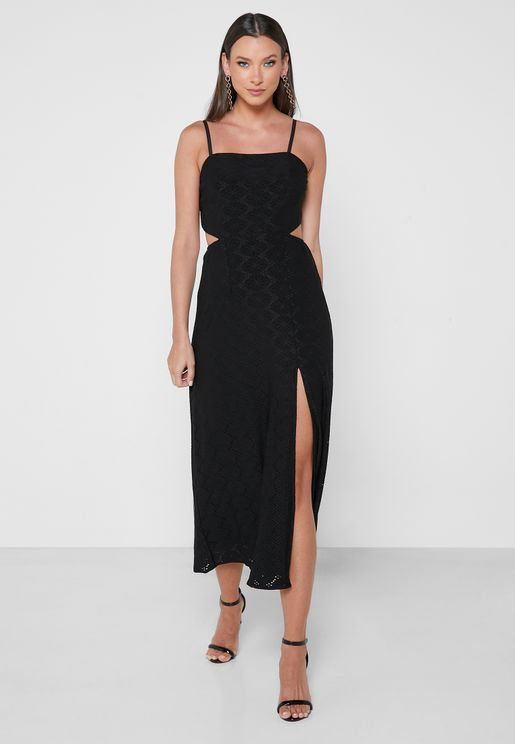 Front Slit Cut Out Strappy Dress