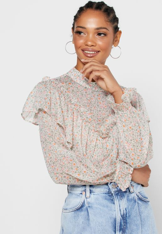 Ruffle Trim Layered Printed Top