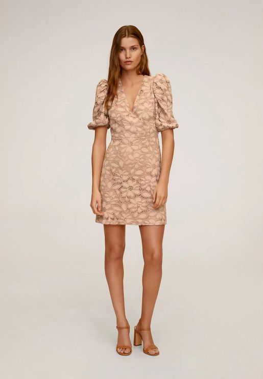 Scallop Detail Puff Sleeve Lace Dress