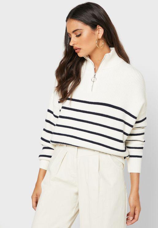 Zip Detail Striped Sweater